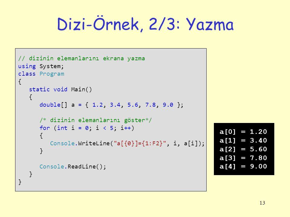 Dizi-Örnek, 2/3: Yazma a[0] = 1.20 a[1] = 3.40 a[2] = 5.60 a[3] = 7.80
